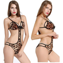 Buy GOYHOZMI Women's Sexy Lingerie Teddy Nightwear Leopard intimates Lace Open Breasts Bra Crotchless Underwear sex products hot