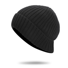 2017 new Men's fur lining Thicken Wool Skullies Winter Wool Knitted Hat Male Beanies Cap Casual Solid Color Simple Hats For Men(China)
