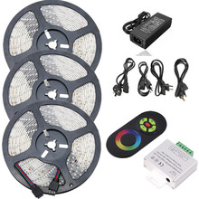 SMD 2835 Waterproof RGB LED Rope Light DC 12V Low Voltage LED Strip Lighting 5m 10m 15m Kit With IR Music LED Controller&Power