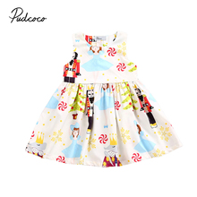 Toddler Kids Baby Girls Sleevess Sundress Cartoon characters Princess Kids Party Pageant Pleated Dresses 0-6T(China)