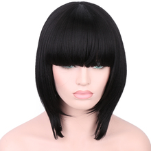 Short Bob Kinky Straight Fiber Hair None Lace Wigs With Bang High Temperature Machine Made Synthetic Wigs For Black Women(China)