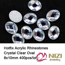 Iron On Rhinestones 8X10mm 400pcs Oval Flatback Crystal Clear Color Hotfix Acrylic Nail Supplies 3D Nail Art Glitter Decorations