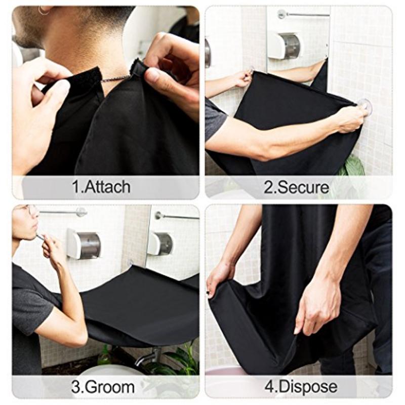 3pcs natural wooden beard comb boar bristle hair brush lice comb men beard apron barber salon cape hairdressing for haircut 7