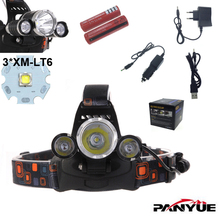 RJ-3000 8000 Lumen Headlight XM-L 3XT6 LED Head Light 4 Modes Headlamp Lantern Hunting Head Flashlight +Car AC Charger + Battery