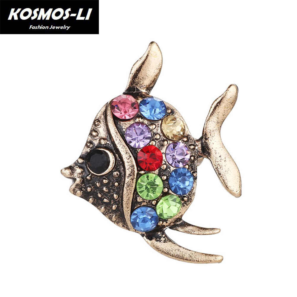 New Cute Crystal Fish Brooches Pin Animal Shinny Rhinestone Tropical Fish  Brooch For Women Party Dress 8ab907be3cc6