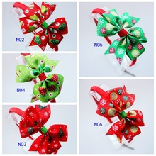 6PCS New girls Christmas gift satin ribbon bows headbands Christmas tree print bow for hair bands