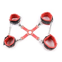 Buy Adult sex tools sale handcuffs sex +ankle cuffs cross connection BDSM bondage fetish slave sex products