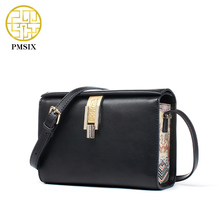 Pmsix 2017 Spring New Shoulder Bag Retro Black Printing Lock Catch Ladies Bag Split Leather Designer Crossbody Bag P220047