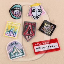 1 PCS Astral Parches Embroidered Iron on Patches for Clothing DIY Stripes Clothes Patchwork Sticker Custom Lip Applique @Z 40-46