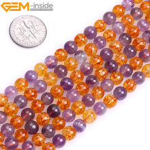 Gem-inside Natural Round Smooth Amethysts & Citrines Beads For Jewelry Making 6mm 8mm14mm 15inches DIY Jewellery