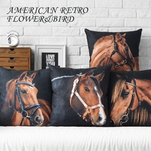Retro pillow Vintage horse decorative throw pillows black and white velvet couch pillows floor chair cushions seat pillow(China)