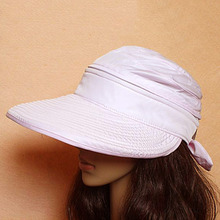 Summer Women Dual Used Wide Large Brim Floppy Fold Shading Beach hats Anti-UV External Visor Cap Folding Sun Hat 2016 Hot Sale(China)