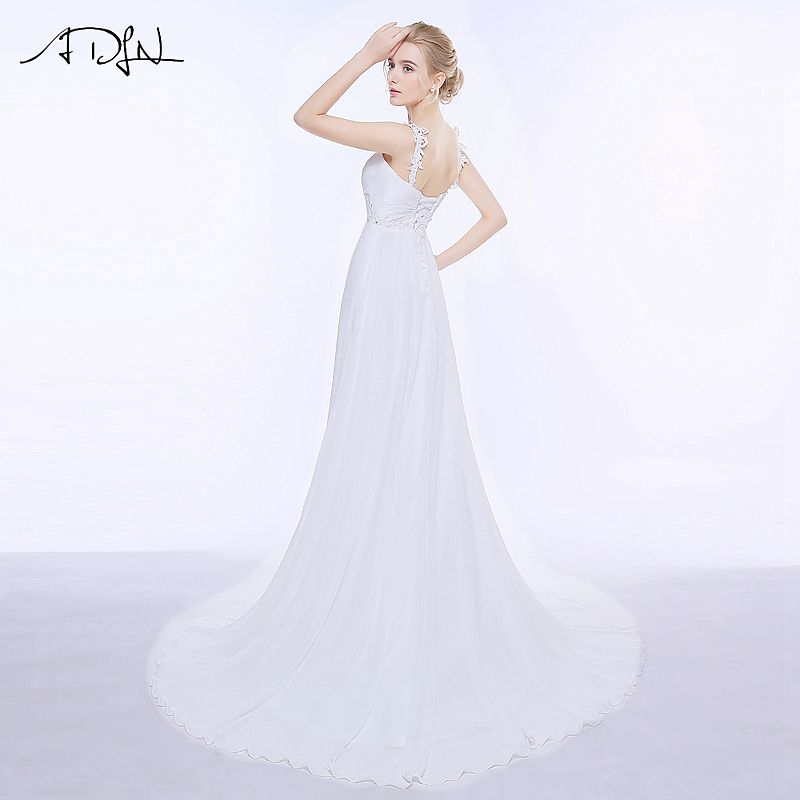 ADLN Real Wedding Dresses In Stock Plus Size Spaghetti Straps Chiffon Bridal Gowns Vestidos De Noiva with Lace Up Back 5