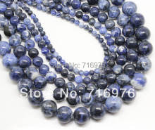 wholesale Natural Stone Beads Old Blue Sodalite Round Loose Beads For Jewelry Making 15.5inch Pick Size 4 6 8 10 12mm -F00116