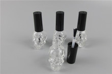 5pcs/lot 10ml Skull Empty Nail Polish Bottle With Black Small Brush Nail Art Container Glass Nail Oil Bottles(China)