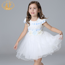 Nimble Latest Summer Girls Dress Handmade Flowers Print Organza Cute Bow Princess  Party Girl Dress