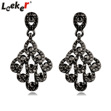 LEEKER Gothic Style Peacock Tail Shaped Earrings With Black Cubic Zircon Women Wedding Party Jewelry 91148 LK1(China)