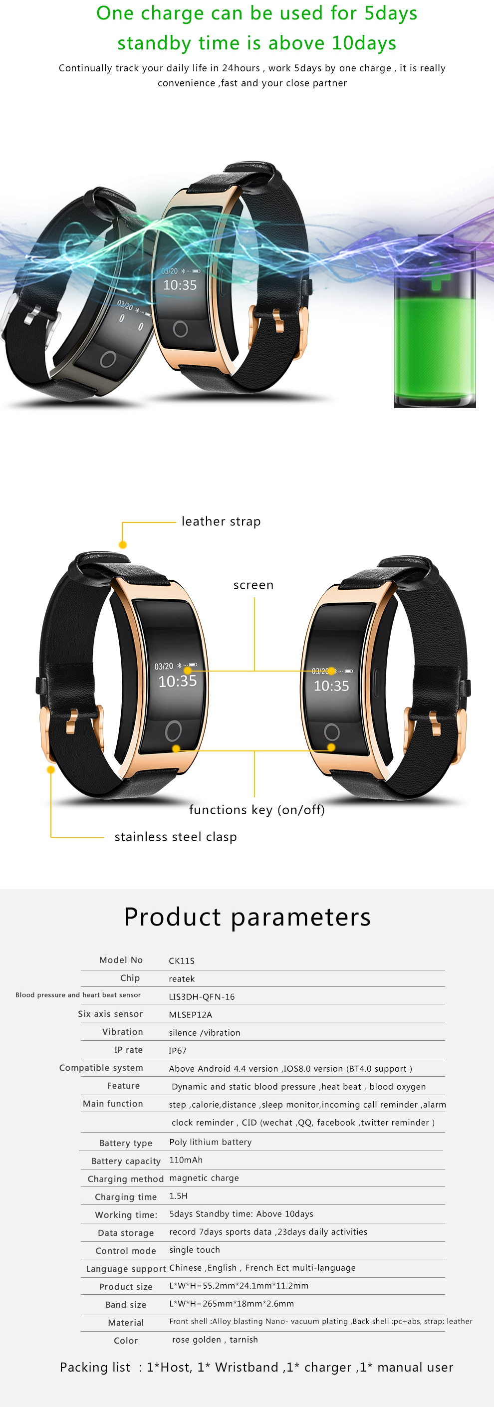 CK11S Smart Band Blood Pressure Heart Rate Monitor Wrist Watch For Men Fitness Bracelet Tracker Pedometer Wristband 8