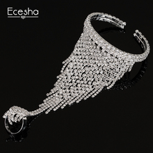 Ecesha Luxury Rhinestone Tassel Bracelet Manchette Femme Charm Crystal Slave Bracelets With Finger Ring Harness Hand Jewelry(China)