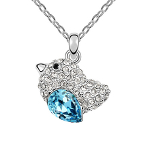 Cute Bird Pendant Necklaces full Rhinestone Wwomen Water Drop Crystal Sweet Jewellery Girl Ornaments Made with Swarovski Element