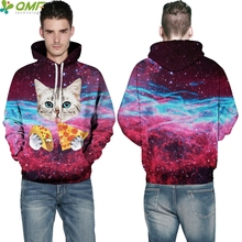 Space Pizza Cats 3d Print Trend Skateboarding Hoodies Fitness Workout Hooded Hoody Galaxy Space Kitty Pullovers Men Sweatshirts