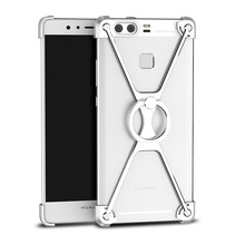 OATSBASF for Huawei P9 Bumper Case X-shape Metal Mobile Casing with Finger Ring Kickstand