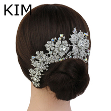 2015 Promotion Tiara Noiva Winsome Wedding Hair Comb Bridal Accessories Vintage Comb, Rhinestone White, Side Tiara, Crystals(China)