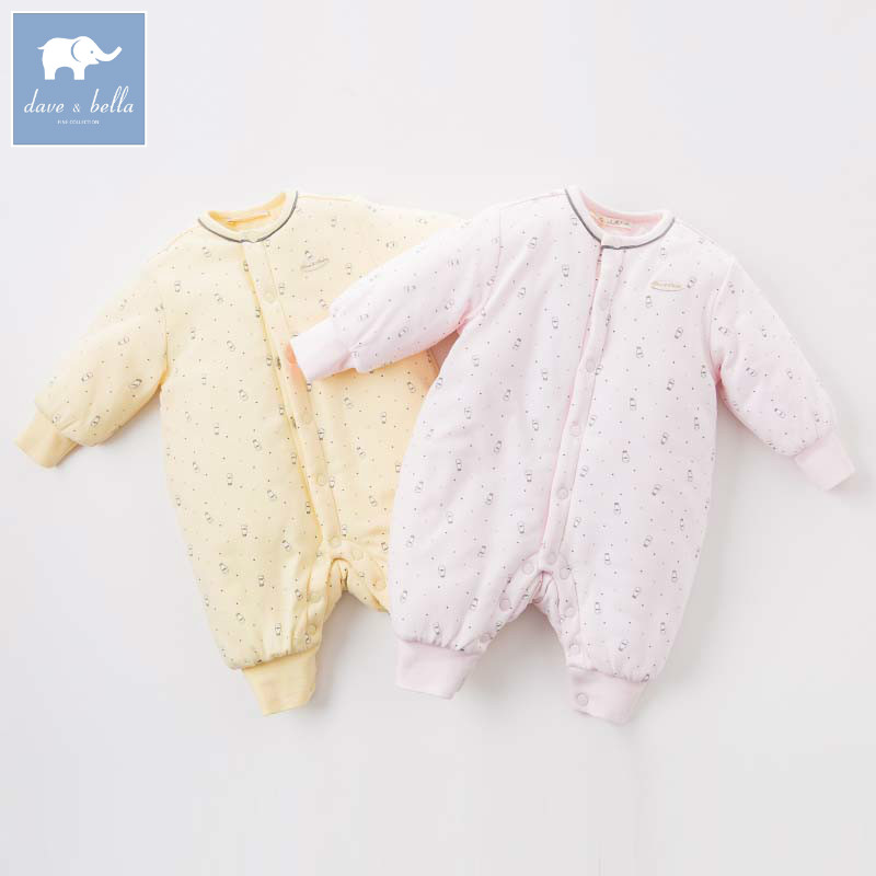 DB6544 dave bella autumn new born baby girls fashion romper infant printed clothes girls cute romper baby 1 piece<br>
