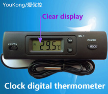Thermometer Auto dual temperature meter inside&outside display,Digital LCD temperature meter electronic car clock with probe(China)