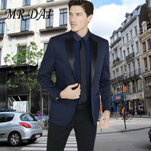 MD-035 2017 Custom made navy blue costume homme men suit smoking ternos masculino wedding suits for men mens suits wedding groom(China)