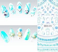DS074 2015 Nail Design Water Transfer Nails Art Sticker Blue Cross Ring Nail Wraps Sticker Watermark Fingernails Decals