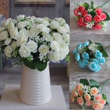 Big Sale Pretty Charming Delightful 15 Buds 1 Bouquet Mini Rose Artificial Silk Flower Bride Bridal Home Decal