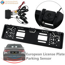 HD Auto Parktronic EU Car License Plate Frame Rear View Camera 170 Degree CCD Reverse Backup Camera with 2 Parking Sensors