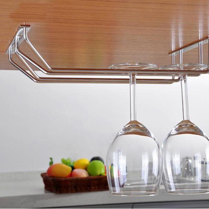 6//8 Wine Glass Rack Stemware Hanging Under Cabinet Holder Bar Kitchen Screw XR