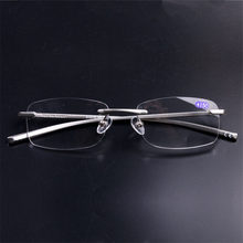 UVLAIK Mens Womens Aluminum Metal Rimless Reading Glasses Clear Mirror Goggles Man Business Frameless Reading Glasses HD lens(China)