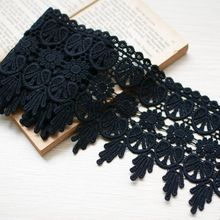 DIY Black fabric 100% cotton water soluble embroidery lace decoration clothes curtain decoration material 11cm width