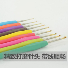 9 PCS/Set Colorful Knitting Needles TPR Soft Rubber Handle Aluminum Crochet Hooks For Knit DIY Craft Loom Tool Weaving Kit Plait