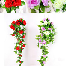 Korean simulation 240cm meters hanging 9 head flower rose rattan vines flowers wholesale caliduct silk flower decoration(China)