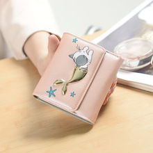 YOUYOU MOUSE Korean Version Personality Wallet Multi-Functional Wallets Cute Cat Pattern Short Section PU Leather 3 Fold Purse
