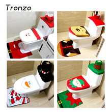 Tronzo Christmas 2017 New Santa Claus Toilet Seat Cover and Rug Bathroom Set Christmas Decorations For Home(China)