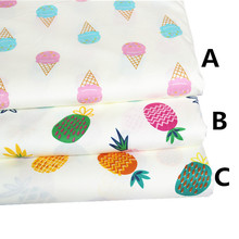 160CM*50CM pineapple ice cream cotton fabric sewing baby cloth infant linens kids bedding fabric tecidos patchwork sewing tissue(China)
