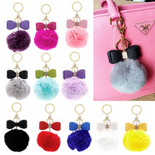JAVRICK Soft Furry Rabbit Fur Keychain Fluffy Charm Bag Phone Key Chain Ball Pom Pendant Moreful