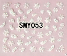 2PCS SMY053 White Snowflake Nail Art Cute Cartoon Sticker Nail Art Sticker