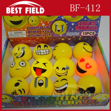 Free shipping 144pcs/lot 5.5cm rubber led bouncy ball Popular Emoji Light Up LED Flash Rubber Bouncy Balls for Party Fun