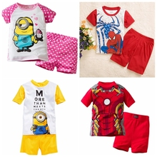 New summer Baby Sleepwears Despicable me Suits Boys minion Pajamas Children Pyjamas Girls Cartoon Pijamas Kids Clothing set