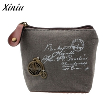 Ladies Cheapest Canvas Classic Retro Small Change Coin Purse Little Key Car Pouch Money Bag,Girl's Mini Short Coin Holder Wallet(China)