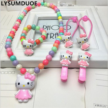 Fashion Hair Accessories Hello Kitty Necklace Bracelet Christmas Gift Girl Clip Headband Bow Hairpin Jewelry Kid Ring Accessory(China)