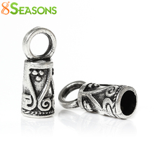 8SEASONS Necklace Cord End Tip Beads Caps W/Loop antique silver-color Flower Pattern Carved 14mm x 5mm,200PCs (B33747)(China)