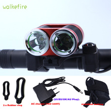 Walkfire 2XT6 LED 5000 Lumen Rechargeable Bicycle Light Mountain Bike Riding Cycling Headlight Waterproof+18650 Battery Pack