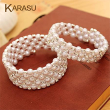 KARASU Luxurious Korean Temperament OL Silver-color Rhinestone Simulated Pearl Wrap Bracelets Multilayer Winding Wide Bangles